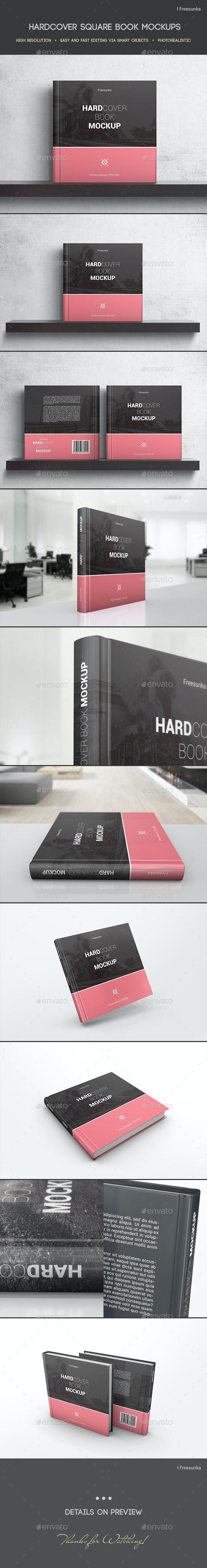 Hardcover Square Book Mockups - Books Print
