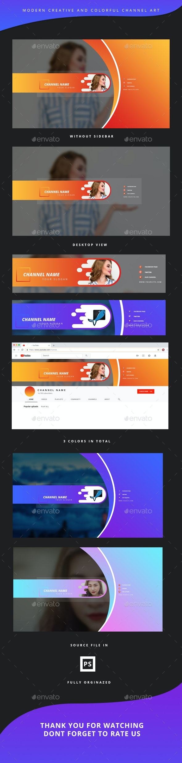 Youtube Creative Colorful Channel Art - YouTube Social Media