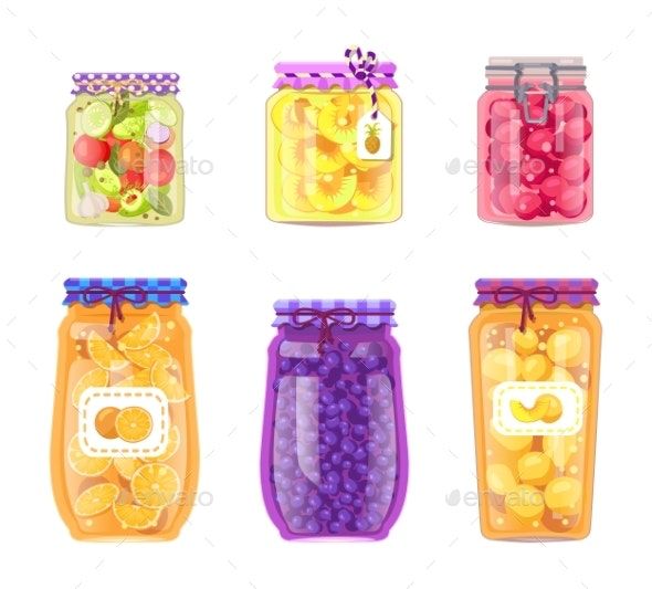 Preserved Fruit and Vegetables Set Vector Icons - Food Objects