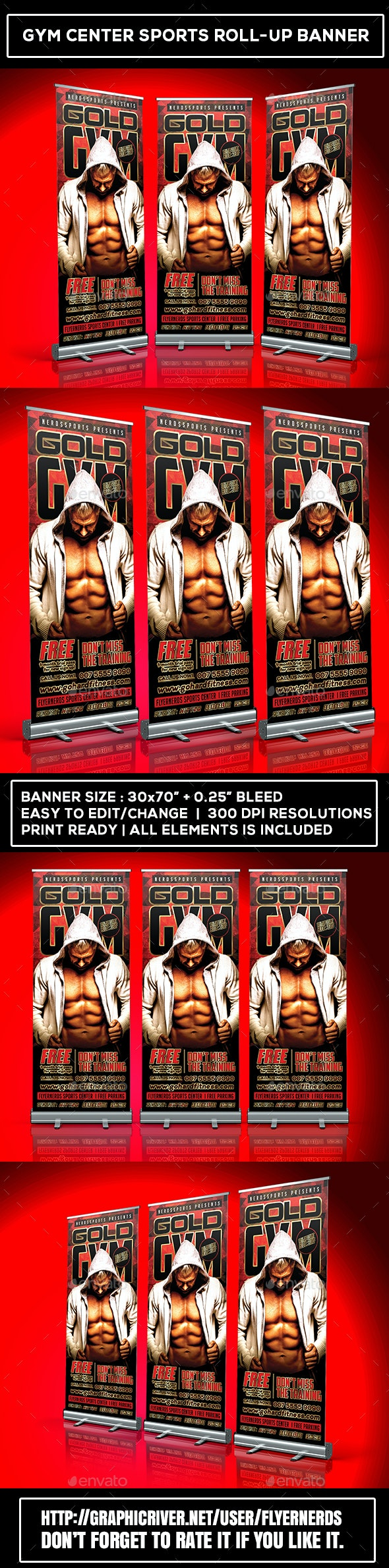 Gym Center Sports Roll-Up Banner - Signage Print Templates