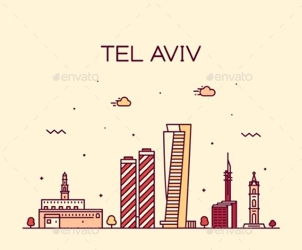 Tel Aviv Skyline Israel Vector Linear Style - Buildings Objects