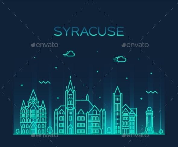 Syracuse Skyline New York USA Vector Linear Style - Buildings Objects