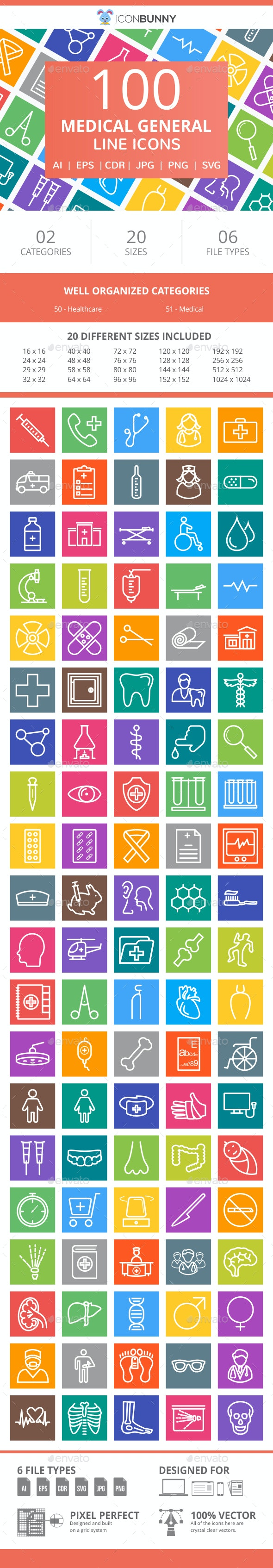 100 Medical General Line Multicolor B/G Icons - Icons