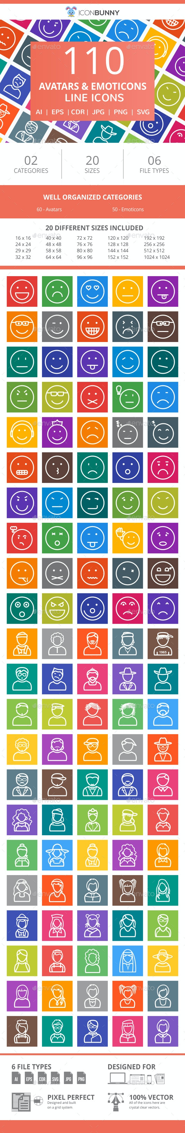 110 Avatars & Emoticons Line Multicolor B/G Icons - Icons