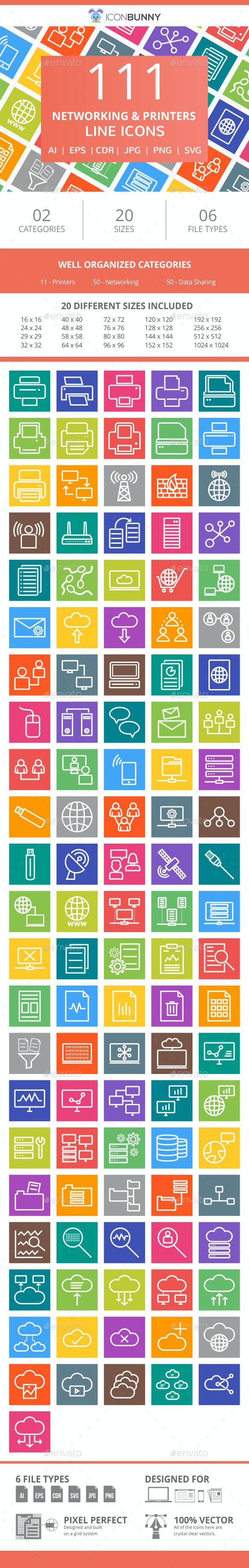 111 Networking & Printers Line Multicolor B/G Icons - Icons