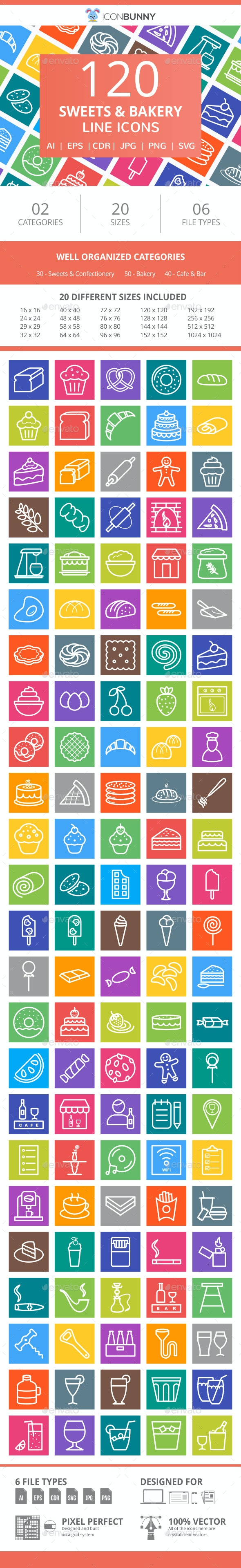 120 Sweets & Bakery Line Multicolor B/G Icons - Icons