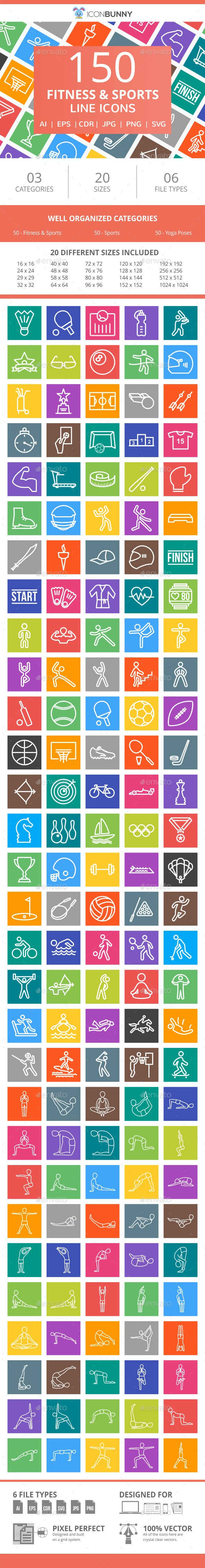 150 Fitness & Sports Line Multicolor B/G Icons - Icons