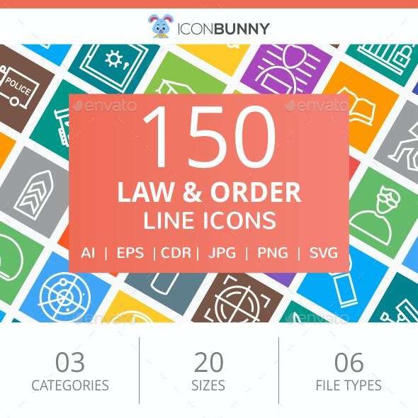 150 Law & Order Line Multicolor B/G Icons