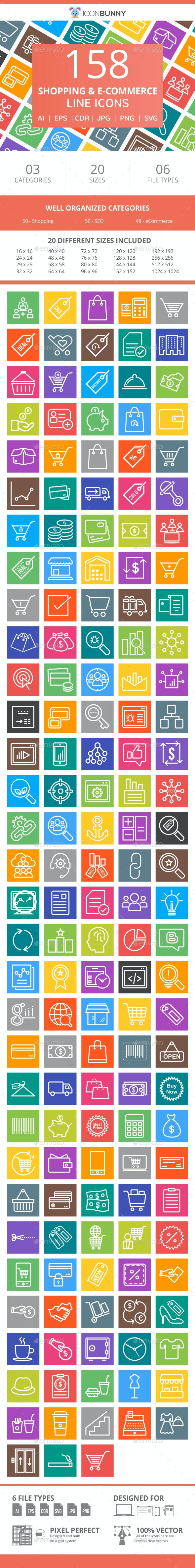 158 Shopping & E-Commerce Line Multicolor B/G Icons - Icons