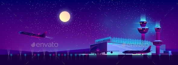 Vector Night Airport in Ultraviolet Colors - Travel Conceptual