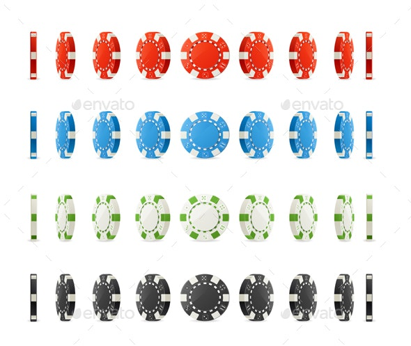 Realistic Detailed Poker Chips Set Different Positions. Vector - Man-made Objects Objects