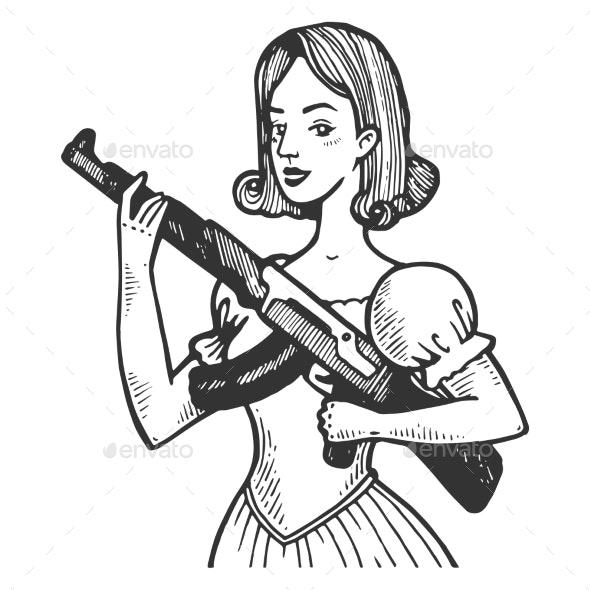 Woman with Automatic Gun Engraving Vector - Miscellaneous Vectors