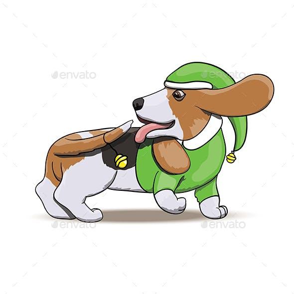 Basset Hound Cartoon Puppy Character Portrait