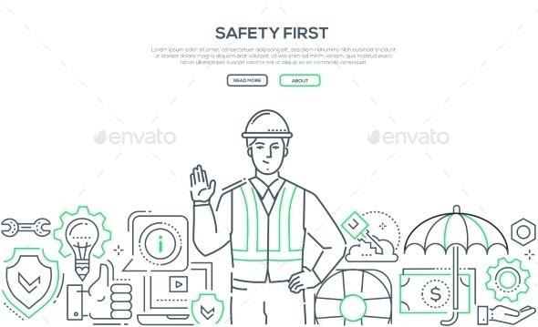 Safety First - Modern Line Design Style Banner - Industries Business