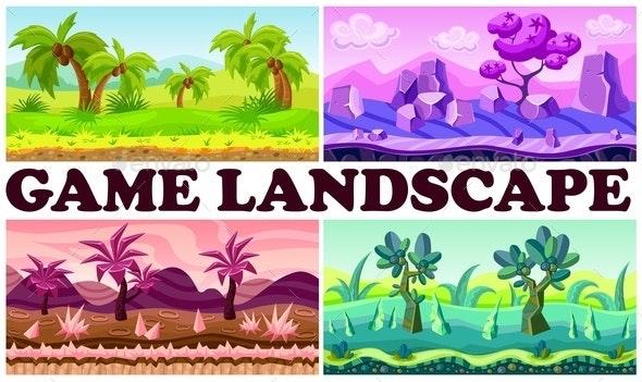 Flat Game Nature Design Backgrounds Set - Nature Conceptual