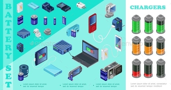 Isometric Chargers For Modern Devices Set - Media Technology