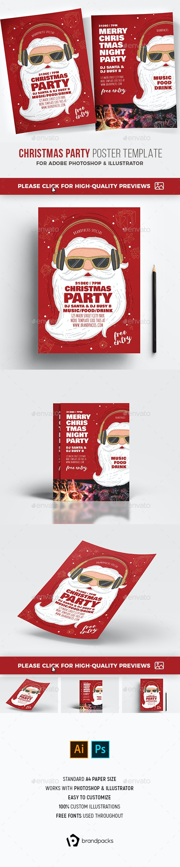 Christmas Party Poster Template - Holidays Events