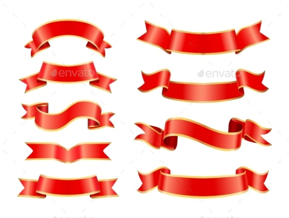 Silk or Satin Ribbons for Vintage Ornamentation - Miscellaneous Vectors