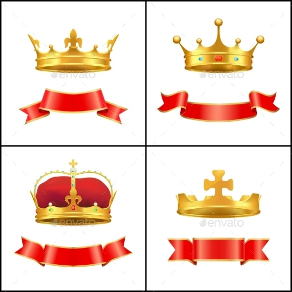 Crown Regal Power and Banner Vector Illustration - Miscellaneous Vectors