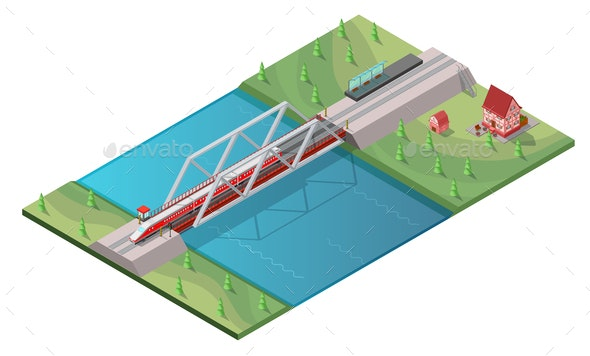 Isometric Passenger High Speed Train Concept - Buildings Objects