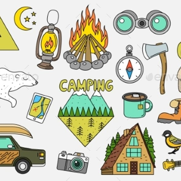 Set of Camping Elements