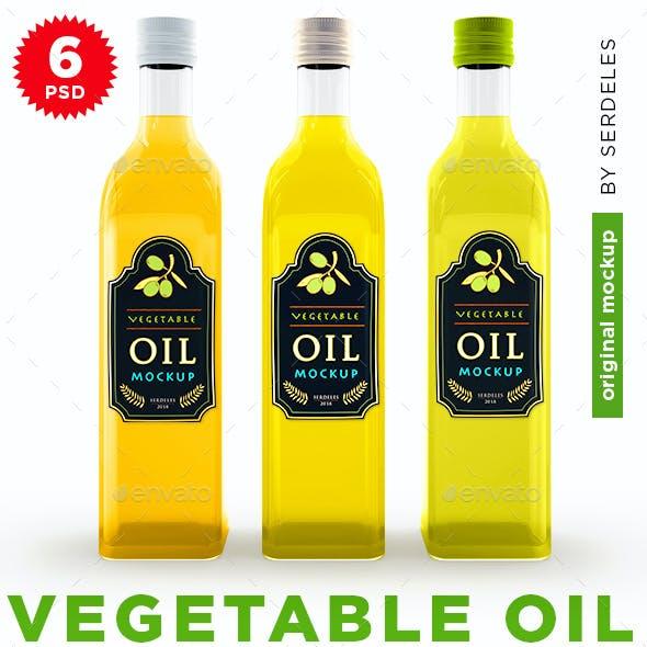 Vegetable Oil Glass Bottle Mockup