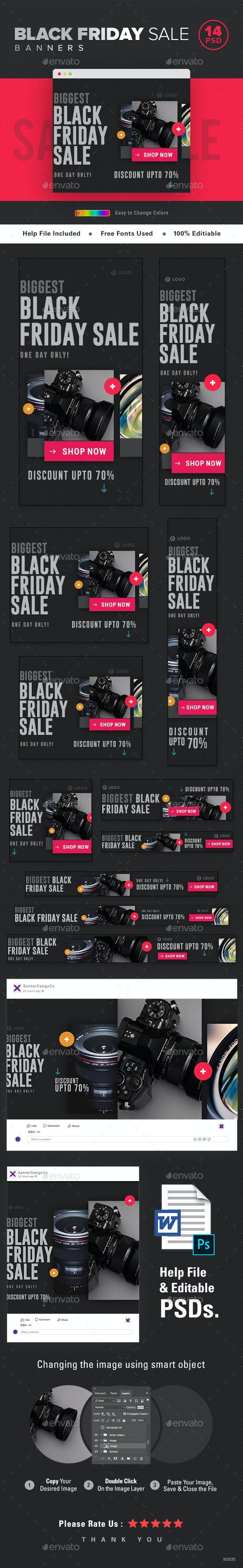 Black Friday Sale Web Banner Set - Banners & Ads Web Elements