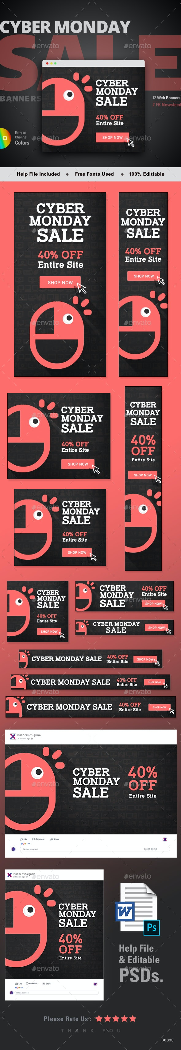 Cyber Monday Sale Web Banner Set - Banners & Ads Web Elements
