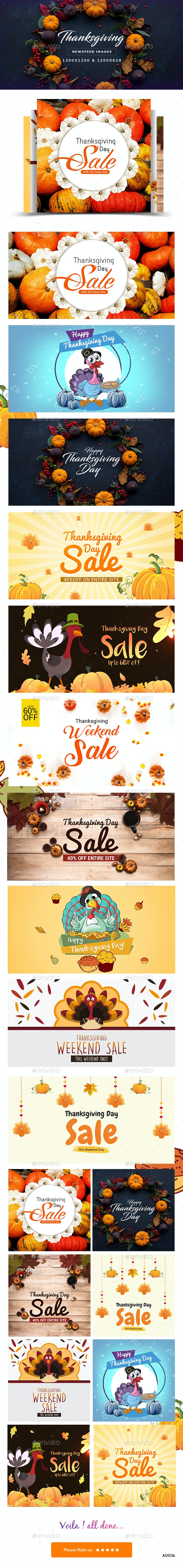Thanksgiving Social Media Banners - 10 Designs - 2 Sizes - Banners & Ads Web Elements