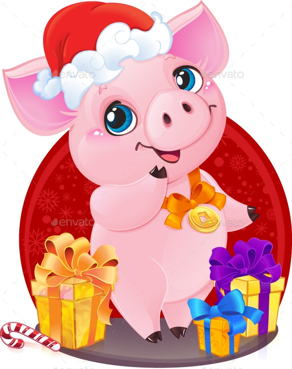Little Piglet with Christmas Gifts for the New Year 2019 - New Year Seasons/Holidays