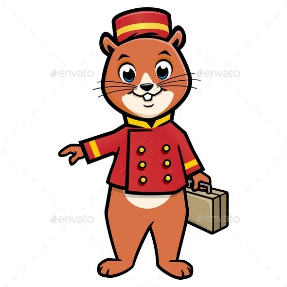Cartoon Chipmunk Bellboy - Animals Characters