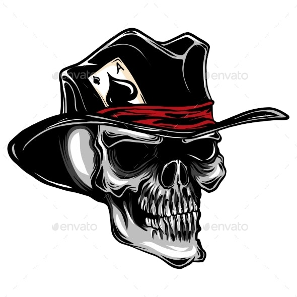 Vector Skull with Top Hat and Ace of Spades - Miscellaneous Vectors