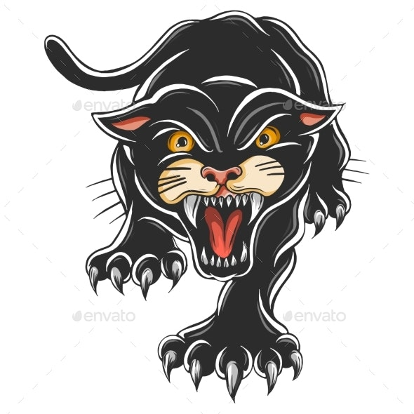 Black Panther Attacking Pose - Animals Characters