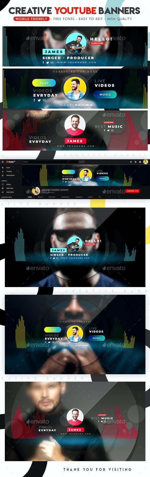 Multipurpose YouTube Banners - YouTube Social Media