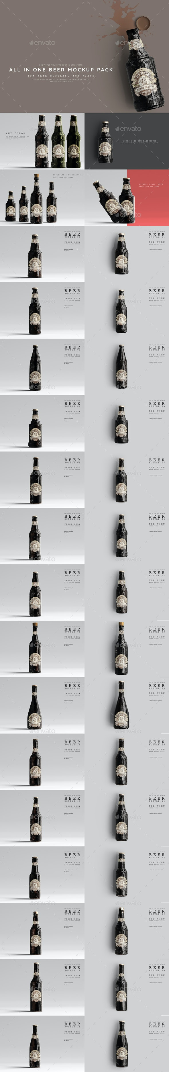 All in One Beer Mockups - Food and Drink Packaging