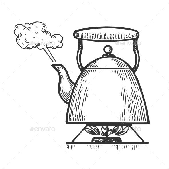 Boiling Kettle Teapot Engraving Style Vector - Miscellaneous Vectors