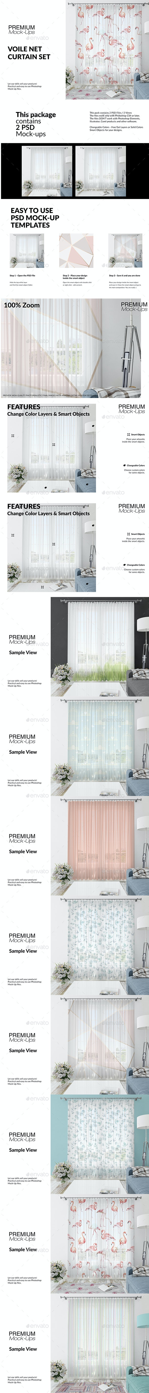 Voile Net Curtain Set - Print Product Mock-Ups