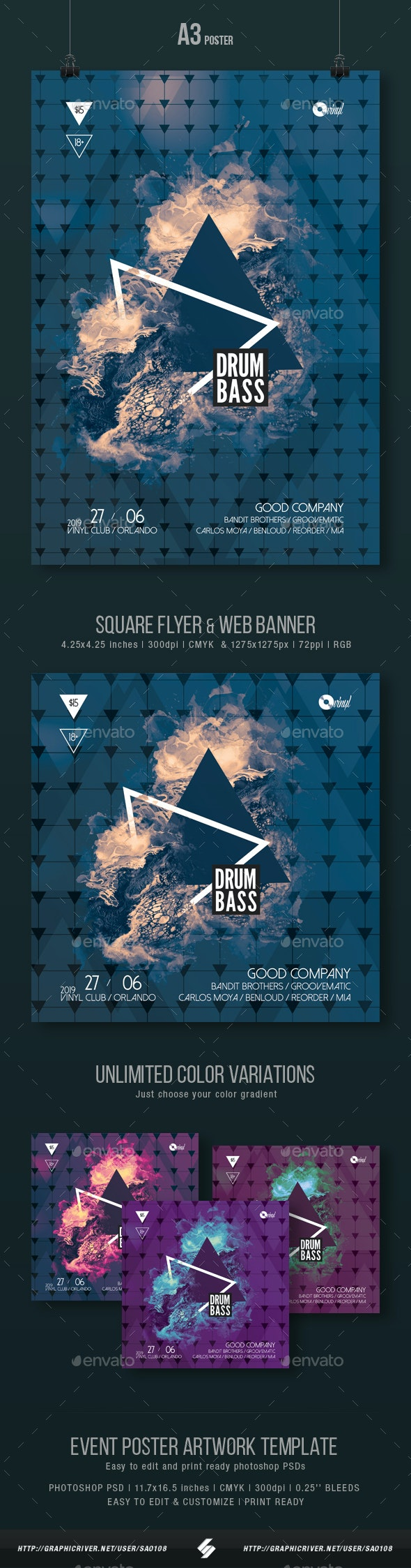 Drum and Bass vol.2 - Party Flyer / Poster Artwork Template A3 - Clubs & Parties Events