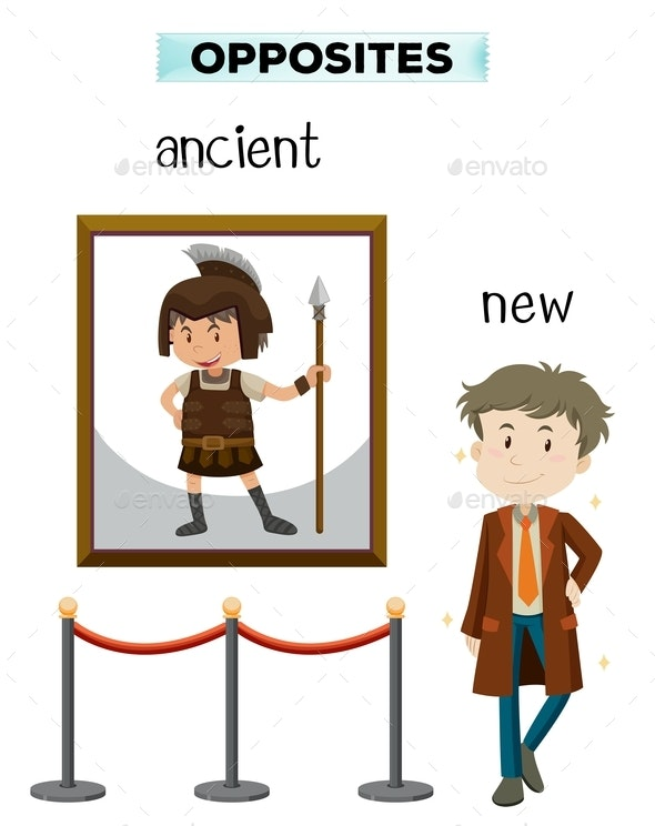 Opposite Word of Ancient New - People Characters