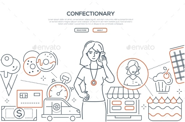 Confectionary - Modern Line Design Style Web - Services Commercial / Shopping
