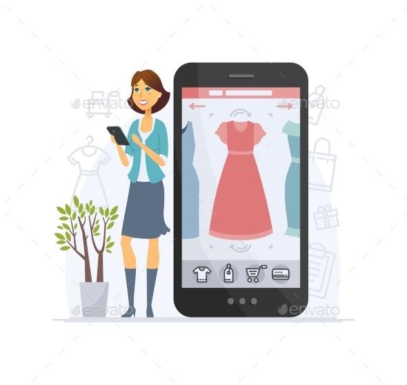 Shopping Online - Modern Vector Cartoon Character - Retail Commercial / Shopping