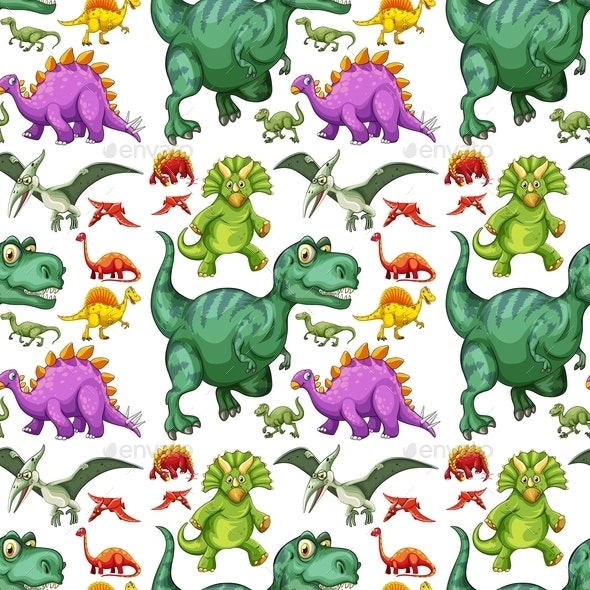 Various Types of Dinosaur Seamless Pattern - Animals Characters