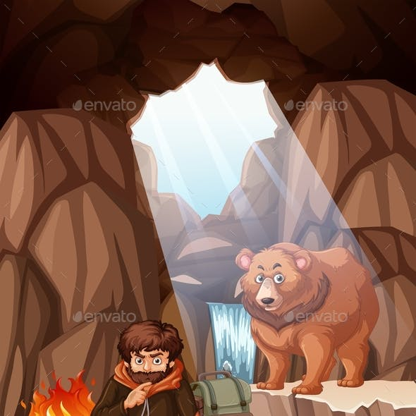 Man Camping In The Bear Cave