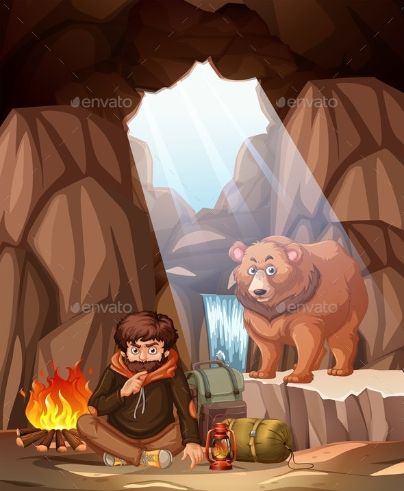 Man Camping In The Bear Cave - People Characters