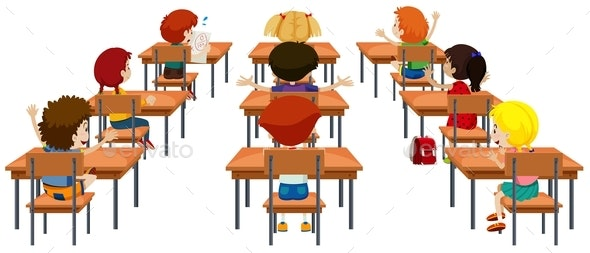Student in The Classroom Isolated - People Characters