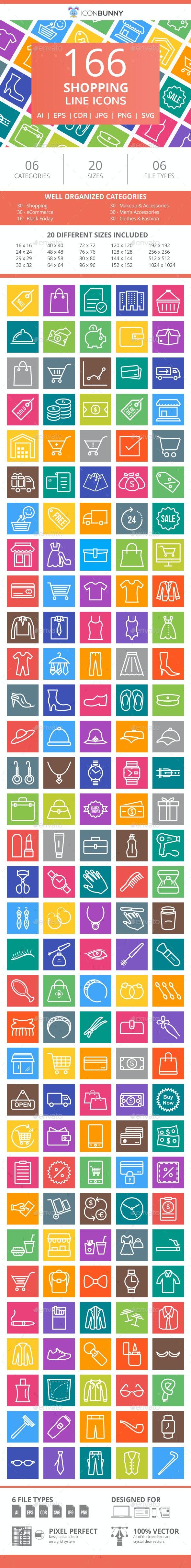 166 Shopping Line Multicolor B/G Icons - Icons