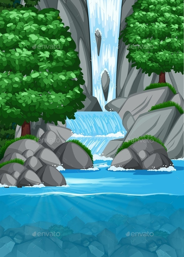 Waterfall Into Pond Scene - Landscapes Nature