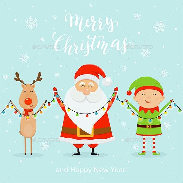 Santa with Happy Elf and Deer Holding Christmas Lights - Christmas Seasons/Holidays
