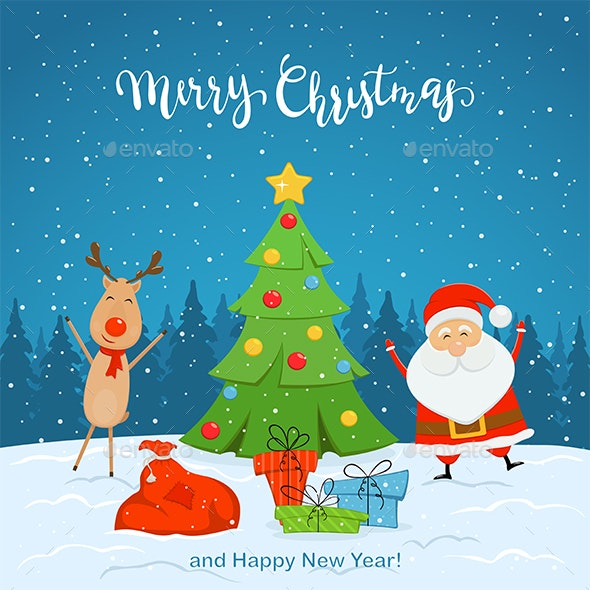 Santa Claus and Reindeer with Christmas Tree on Snowy Background - Christmas Seasons/Holidays