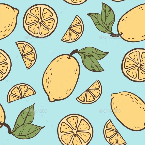 Seamless Doodle Pattern with Vintage Lemons - Food Objects